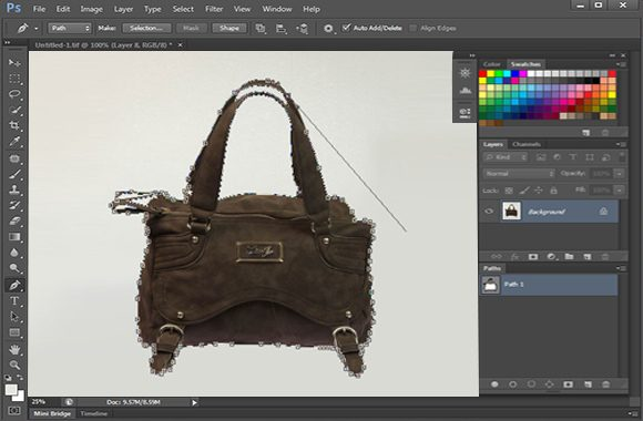 Clipping Path Working Process; Bag Photo sample for eCommerce photographer