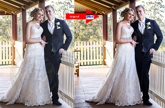 Wedding photo Retouching before after image