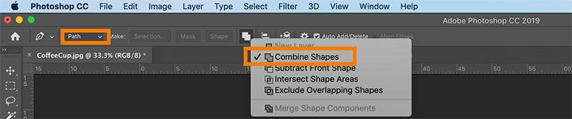Select combine shapes | Photoshop Pen Tool