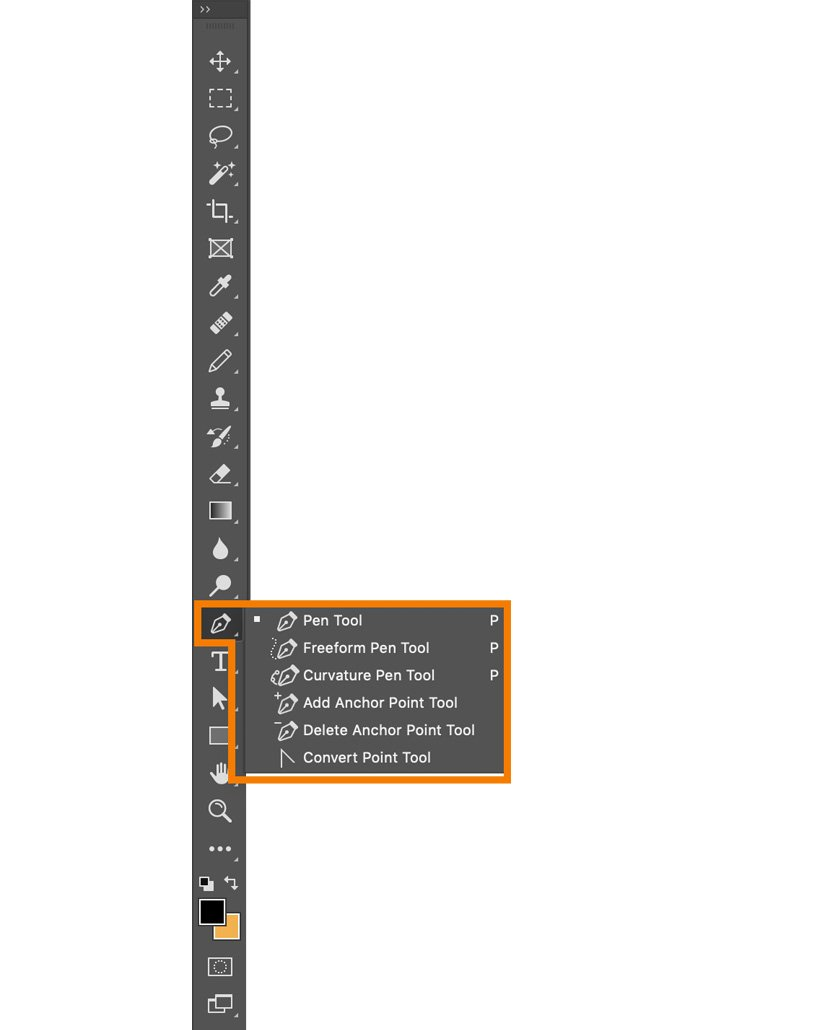 Photoshop Pen Tool in the Toolbar