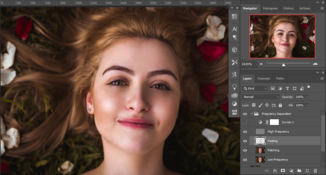 Healing with Separate Layer of photoshop Frequency Separation