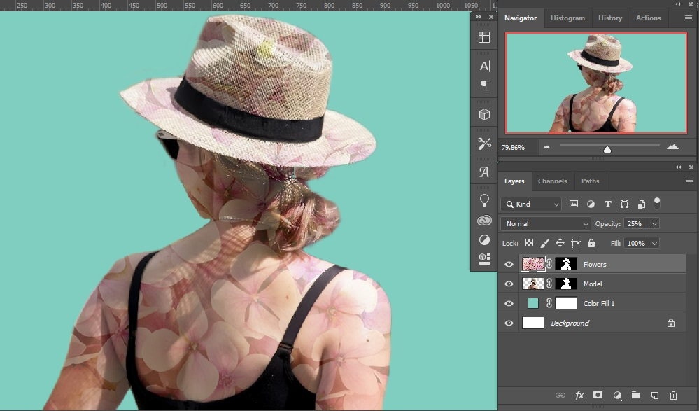 Masking and opacity adjustment _ Double Exposure Effects in Photoshop