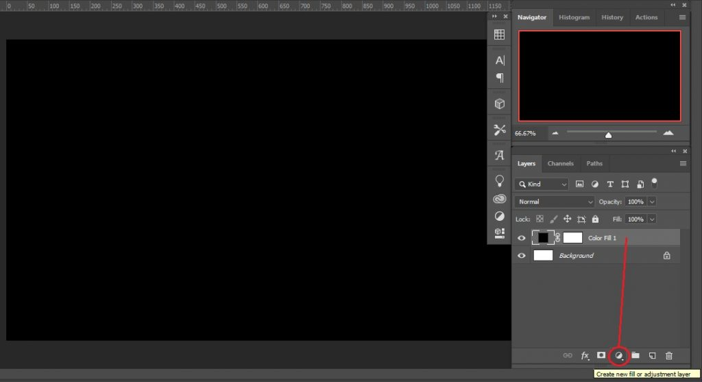Solid color adjustment layer