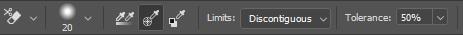 Background eraser tool settings