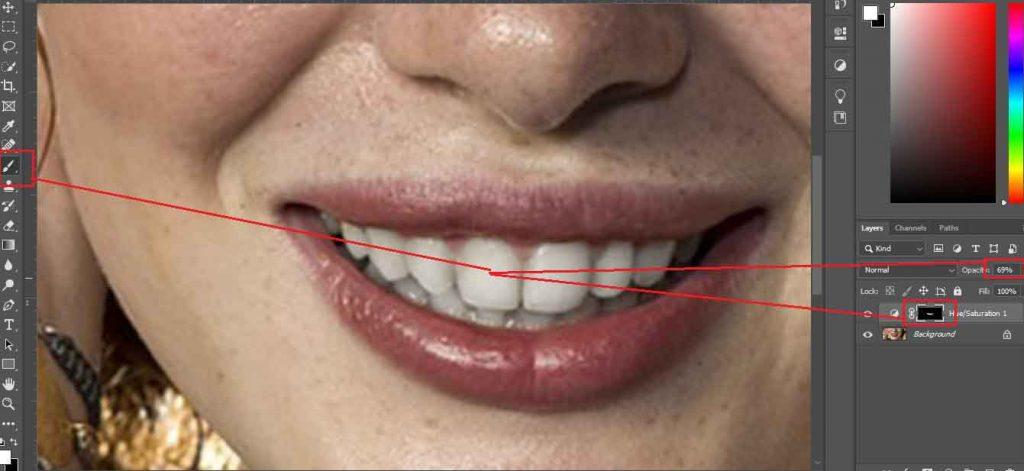 Selecting Teeth Area (Teeth Whitening in Photoshop)