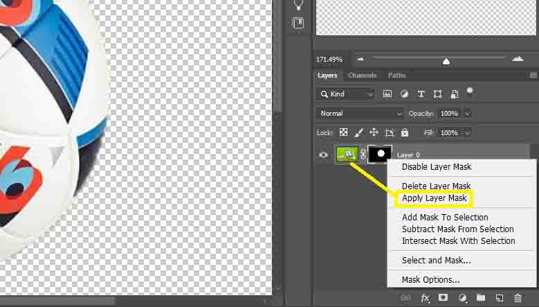 Apply Layer Mask (image masking in photoshop)