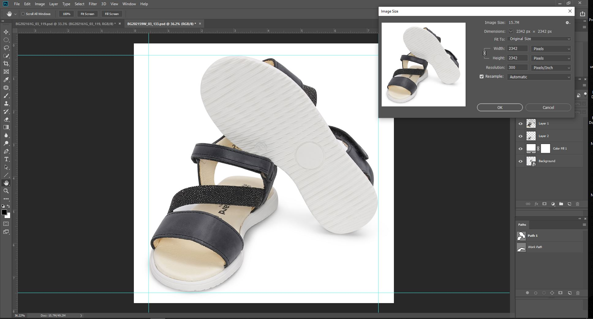 Cropping and Resizing (Shoe photo editing service)