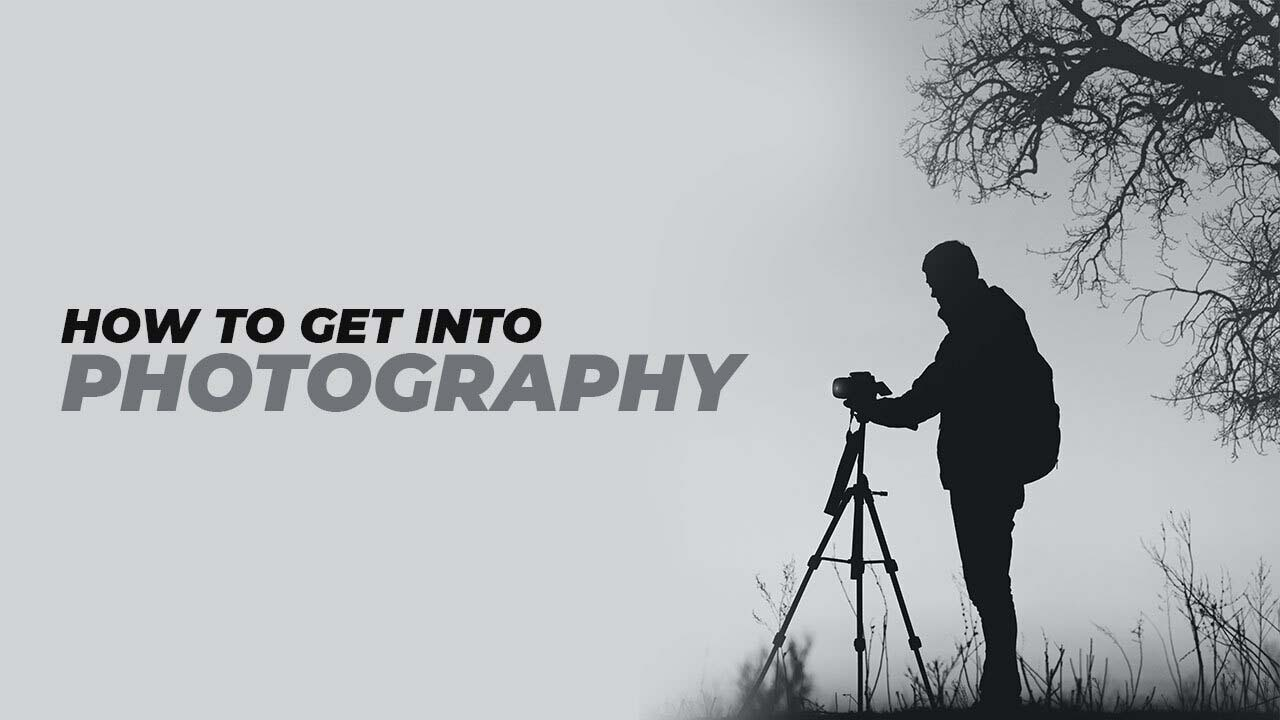 a photographer taking picture by using tripod while text shows,