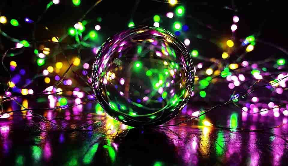 showing how to get into photography by a image focusing on a ball, while lighting are surronding.