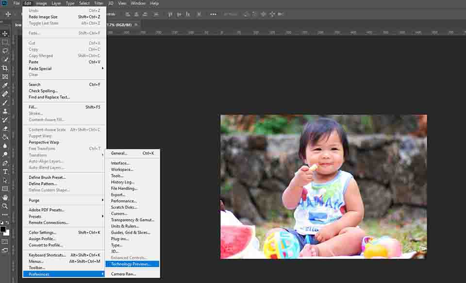 technology preview in photoshop
