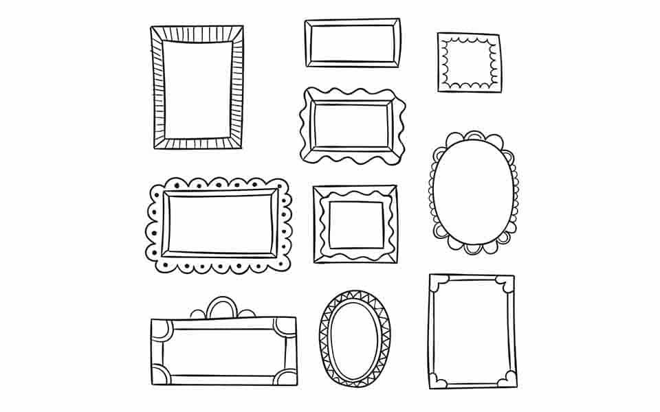 Pack Drawn Ornamental Frames for photoshop