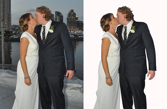 Removing Changing Background of Wedding Image