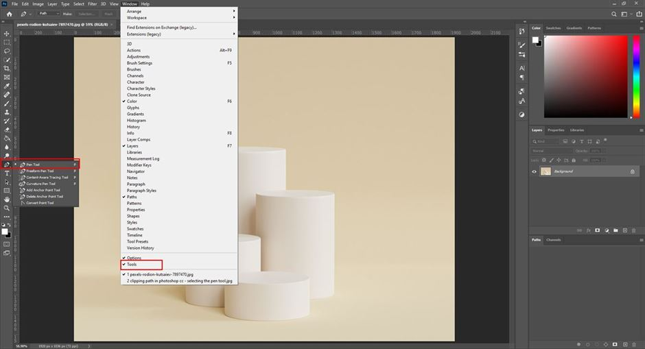 clipping path in photoshopcc selecting the pen tool